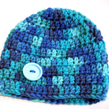 Shades of Blue Baby boy hat newborn photo prop 0 - 3 months Ready to ship