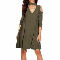 Ladies Olive Army Green Cold Shoulder V-Neck Choker Casual Shift Dress