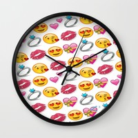 Valentine's Day Emoji Love Wall Clock by Love Lunch Liftoff