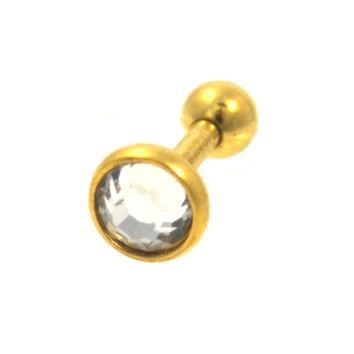 Gold Plated Bar and CZ Cartilage Tragus Jewelry 16g
