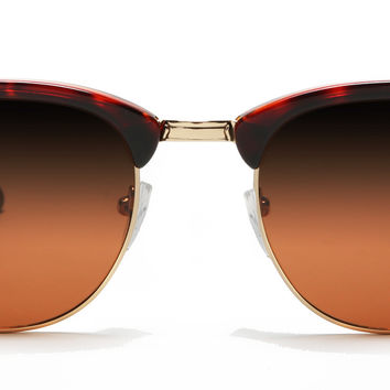 Polarized ClubMaster Vintage Sunglasses Brown Red