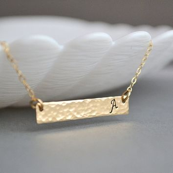 Gold Hammered Bar Necklace, Personalized Gold Bar Necklace, Bar Monogram Necklace, Horizontal Bar