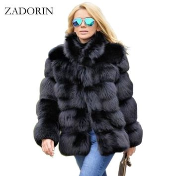 ZADORIN New Winter Coat Women Faux Fox Fur Coat Plus Size Women Stand Collar Long Sleeve Faux Fur Jacket Fur gilet fourrure
