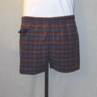 Vintage 60s PLAID LINED Mad Men Style Rare Classic Pocket Unisex Medium Beach Hip Swim SHORTS