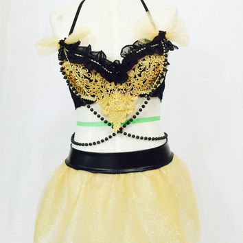 Golden black dance wear with mini tulle skirk / rave outfit / edc / tomorrowworld / performance / dance competition / dancer