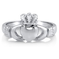 925 Sterling Silver Claddagh Design Plain Ring Band #r649