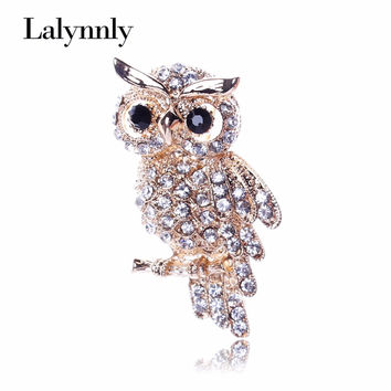 Fashion Gold Color Owl Style Shiny Crystal Inlay Lady Jewelry Rhinestone Brooches For Weddings XZ00251