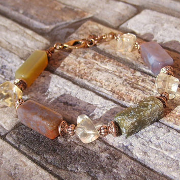 Multicolor Raw Stone Bracelet Rough Gemstone Jewelry Natural Stone Colorful Bracelet Rough Crystal Jewelry Bracelet for Women Stone Jewelry