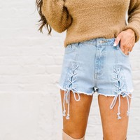 Light Denim Lace Up Shorts - These Three Boutique