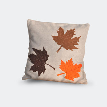 Fall pillow, maple decorative pillow, brown maple leaves, leaf, brown maple, artisan room decor, brown leaves pillow cover, living room