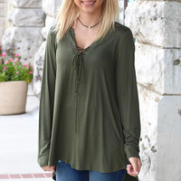Long Sleeve Soft Lace Up Blouse {Olive}