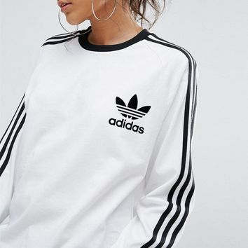 adidas Originals White/Black Three Stripe Long Sleeve T-Shirt