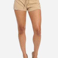 Beige Shorts With Hem Crochet Applique