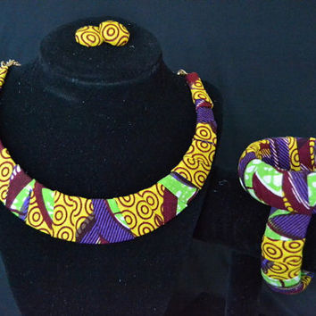Yellow Mustard, Purple, and Red Ankara Earring