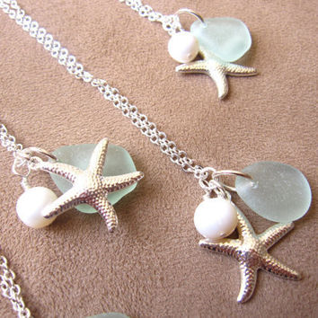Bridesmaids Sea Glass Starfish Necklace in Seafoam Blue with fresh water pearl - Perfect Necklace for Beach Wedding