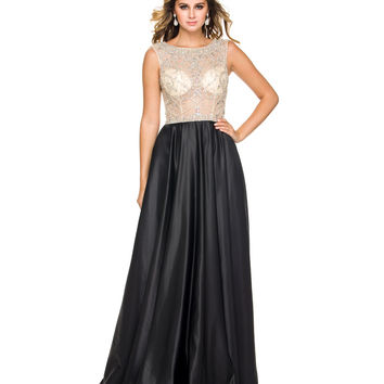 Preorder -  Black & Nude Embellished Sheer Bodice Gown 2015 Homecoming Dresses