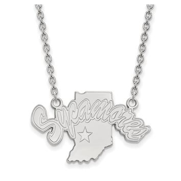 NCAA 14k White Gold Indiana State Large Sycamore Pendant Necklace