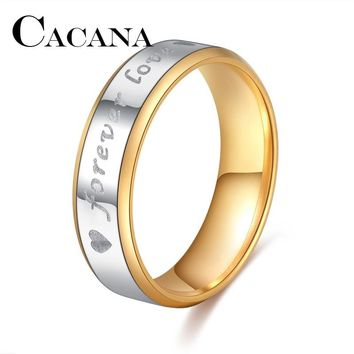 CACANA Titanium Stainless Steel Rings For Women Forever Love Circle Engagement Fashion Jewelry Rings For Male Party Wedding