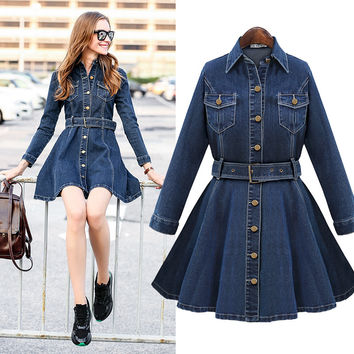 One Piece Slim Long Sleeve Denim Dress