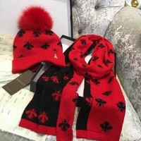 DCC3W GUCCI Bee Hat Cap Scarf Two Piece set