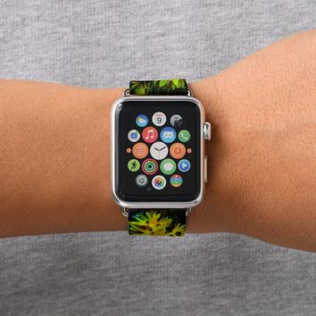 Abstract yellow spring flower apple watch band