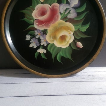 Pilgrim Art Black Floral Tray/ Pilgrim Art Hand Painted Tole Tray/ Black and Gold Serving Tray/ Shabby Chic Vanity Tray