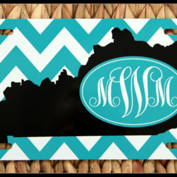 License Plate Car Tag Personalized Monogrammed Car Tag Car Accessories Kentucky State License Plates New Car Black and White Chevron