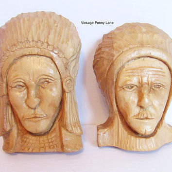 Vintage Folk Art Carvings, Wall Hangings, Handmade Native American, Hand Carved Wood