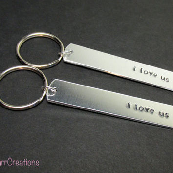 I Love Us, Matching Keychains for Couples, Hand Stamped Aluminum Key Chains, Set of Two