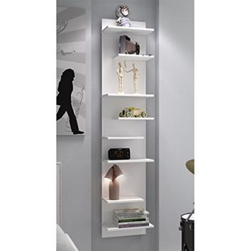 Captivating Nelson Floating Shelf Panel with 8 Shelves in White