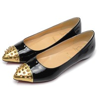 Christian Louboutin Fashion Edgy Rivets Pointed Red Sole Flats Shoes