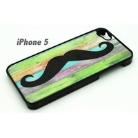 BLACK Snap On Hard Case IPHONE 5 5S Plastic Skin Cover - Pastel Mustache colored...
