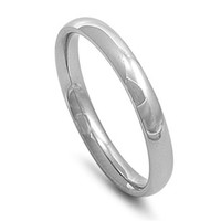 Unisex Stainless Steel Comfort Fit 3mm Wedding Band
