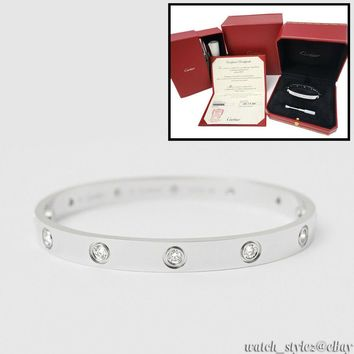 Authentic CARTIER Love 18K White Gold 10 Diamond Size 18 Bangle Bracelet w/ Box