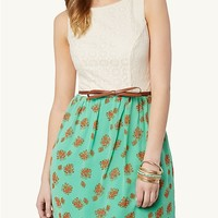 Bow Belt Lace Floral Dress