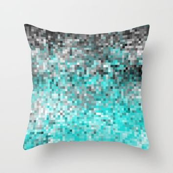 Aqua Gray Pixels Throw Pillow by SimplyChic