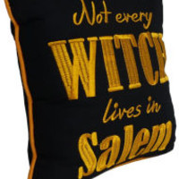 Not Every Witch Lives in Salem Embroidered Black and Orange Pillow 10