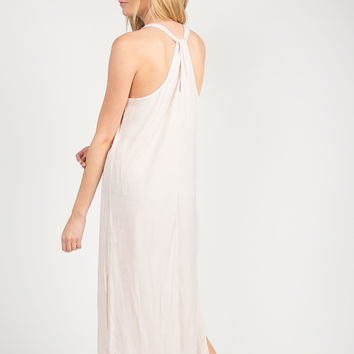 Silky Knotted Back Dress - Blush