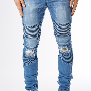 JN151 Ripped Stone Wash Biker Denim - Light Blue