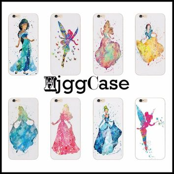 For Apple iPhone SE 4 4S 5 5S 5C 6 6S 7 Plus 6SPlus Princess Alice in Wonderland Ariel Jasmine Cinderella Hard Plastic Case