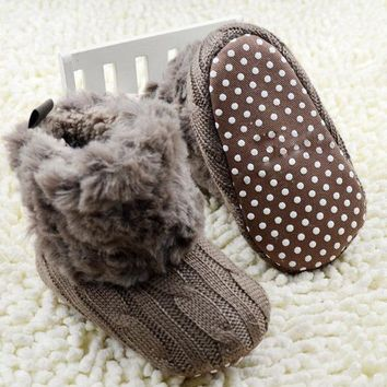 2017 Winter Warm First Walkers Baby Ankle Snow Boots Infant Crochet Knit Fleece Baby S