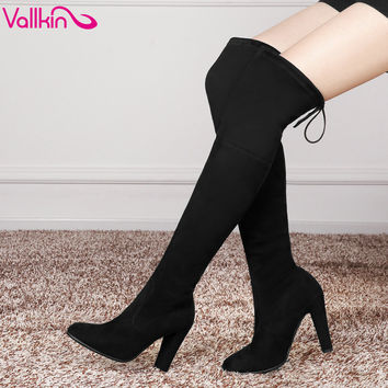 VALLKIN 2016 Black Round Toe Lace Up Over The Knee Boots Scrub Square High Heel Women Shoes Winter Snow Boots size 34-43