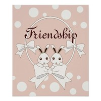 Cute Bunny Cartoon w/ Ribbons Pastel Pink Kids Poster