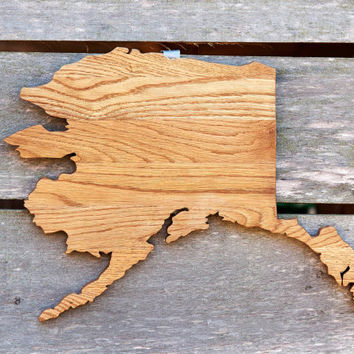 "Alaska state shape wood cutout sign wall art with star. Handcrafted from repurposed Oak flooring 14x20"". Wedding Cabin Rustic Country Decor"