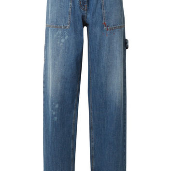 Valentino - Distressed high-rise wide-leg jeans