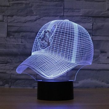 3D Night Light Cleveland Indians Baseball Cap RGB Changeable Mood Lamp LED Lights USB Touch Table Besides Lamp Home Decorative