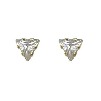 BecKids Single 14k Gold Mini Triangle CZ Stud Earrings