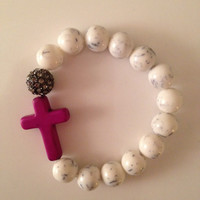 White Howlite Cross Bracelet