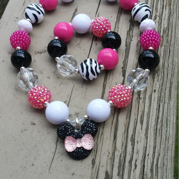 Minnie Necklace, Girls Bubblegum Necklace, Minnie Mouse Jewelry, Minnie Mouse Birthday, Necklace and Bracelet, Zebra Minnie, Disney Necklace