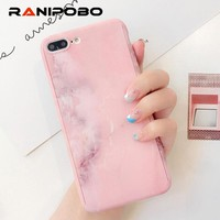 360 Degree Marble Stone Full Protective Case For iPhone 6 6S 7 Plus 8Plus Cover With Tempered Glass Phone Case For iPhone6 Plus